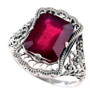 Art Nouveau Ruby Ring in Platinet