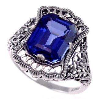 Art Nouveau Sapphire Ring in Platinet