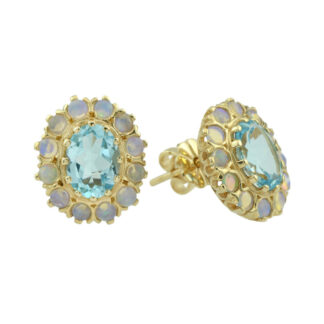 Blue Topaz & Opal Earrings in 10KT Gold