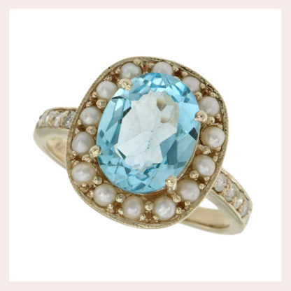 Blue Topaz & Pearl Ring in 10KT Gold