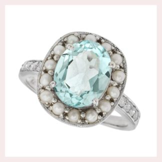 Aquamarine & Pearl Ring in 10KT White Gold