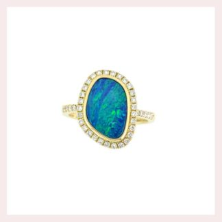 Free Form Opal & Diamond Ring