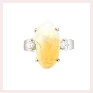 Cab Opal & Diamond Ring