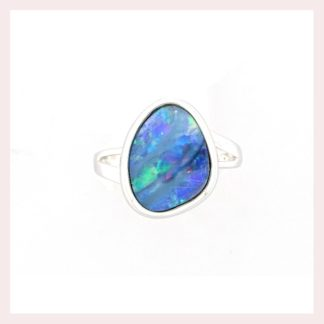Free Form Opal Ring in 14KT White Gold