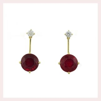 Ruby & Diamond Earrings in Gold