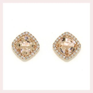 Cushion Morganite & Diamond Earrings in 14KT Rose Gold