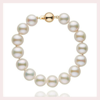 10mm White Pearl Bracelet in 14KT Gold