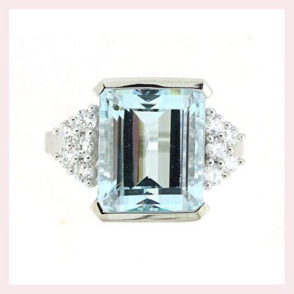 Aquamarine & Diamond Ring in Gold