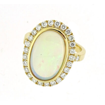 Australian Opal & Diamond Ring in 14KT Gold