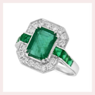 Emerald & Diamond Ring in Gold
