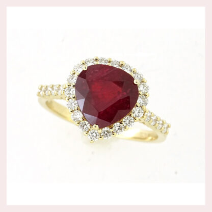 Ruby & Diamond Ring in 14KT Yellow Gold