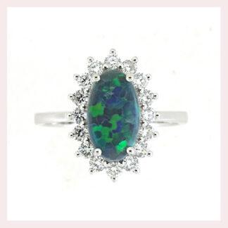 Black Opal & Diamond Ring in Gold