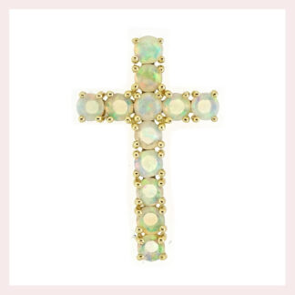 Opal Cross in 14KT Yellow Gold