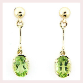 Dangle Peridot Earrings in 10KT Gold