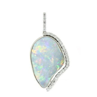 Opal & Diamond Pendant in 14KT Gold