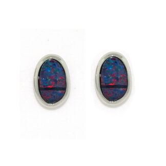 Black Opal Earrings in 14KT White Gold