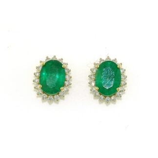 Emerald & Diamond Earrings in 14KT Gold