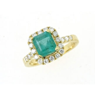 Emerald & Diamond Ring in 14KT Gold