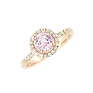 Diamond Halo Morganite Ring in 14KT Rose Gold