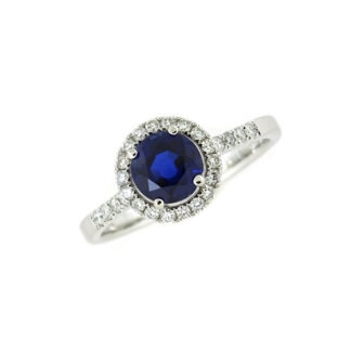 Diamond Halo Sapphire Ring in 14KT White Gold