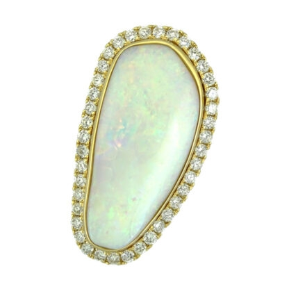 Opal & Diamond Ring in 14KT Yellow Gold