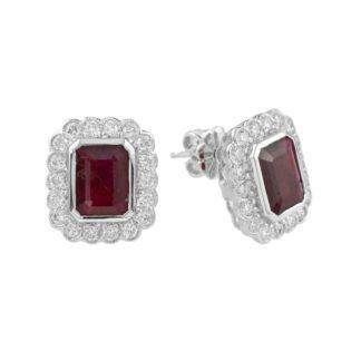 Ruby & Diamond Earrings in 14KT White Gold