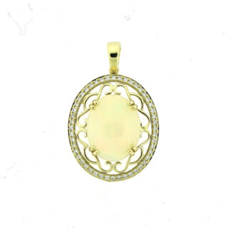 Opal & Diamond Pendant in 14KT Yellow Gold